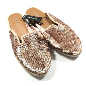 Express Rose Gold Sequined Loafer Mules